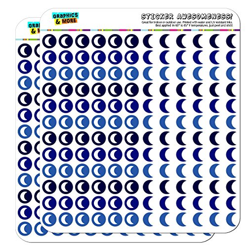 Moon Dots Planner Calendar Scrapbooking Crafting Stickers - Blue - Opaque