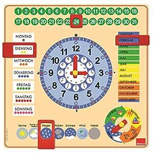 Goula - Reloj y calendario en alemán, material educativo (Diset 51309)