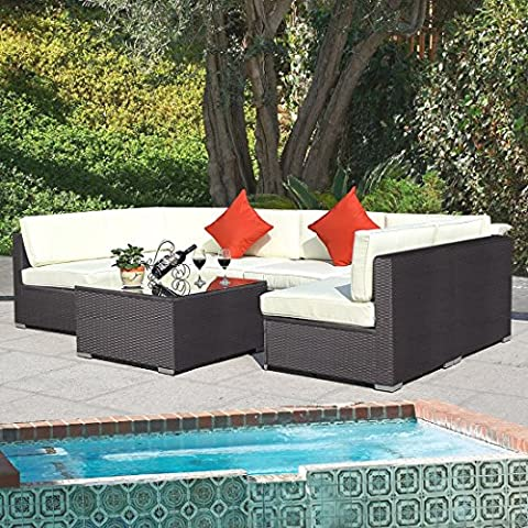 Outdoor 7PC Furniture Sectional PE Wicker Patio Rattan Sofa Set Couch Brown - Orleans Patio Furniture
