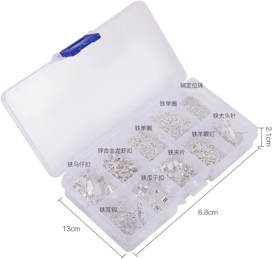 Jewelry Making Supplies Kit Jewellery Finding Set for Jewelry Beading Making,Earring Making Repair,Making Bracelets,DIY Handmade of Adults and Beginners Silver