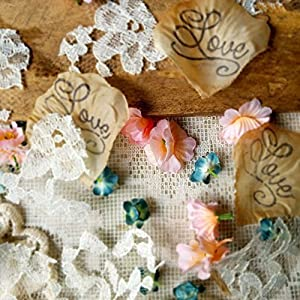 Table scatter, blush and teal flowers with lace wedding confetti, Flower Girl throw, DIY wedding, tossing petals, bridal shower confetti 6