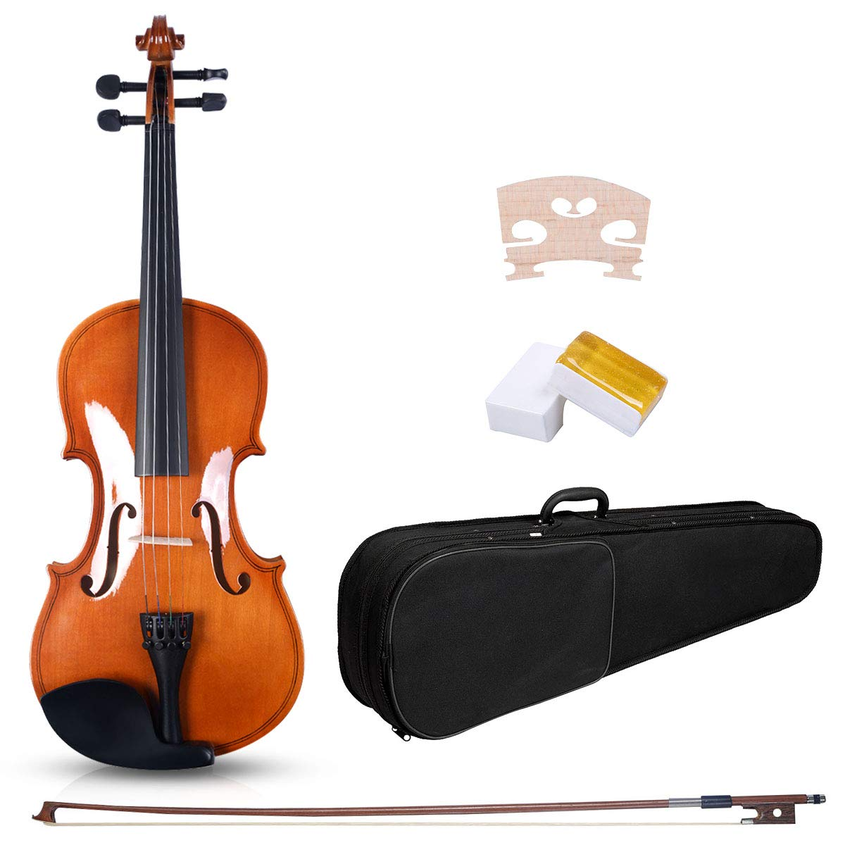 Goplus Acoustic Violin, 4/4 Full Size Solid Wood Fiddle w/Case, Bow, Rosin and Chin Rest for Beginners and Students (burlywood) by Goplus