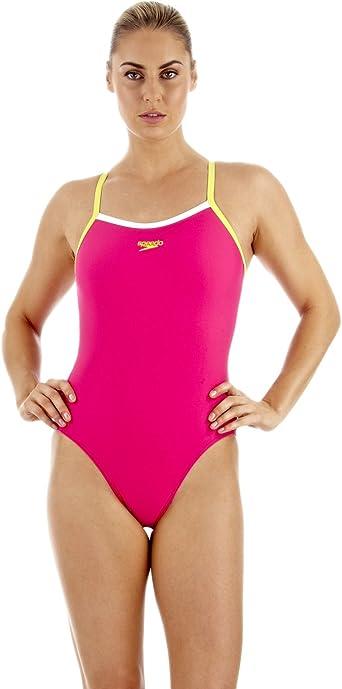 Speedo Powerflash - Bañador de natación con Tirantes Finos Rosa Pink/Yellow Talla:32 Inch: Amazon.es: Ropa y accesorios