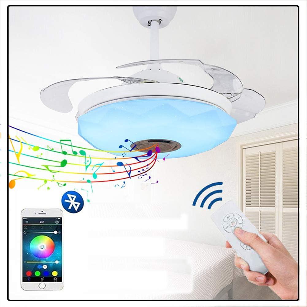 Vicareer 42 Pulgadas Moderna Música Ventilador De Techo Luz con Altavoz Bluetooth,LED Invisibles De Mando A Distancia Luces Lámpara De Techo Retráctil Dormitorio,Motor Silencioso 36 In