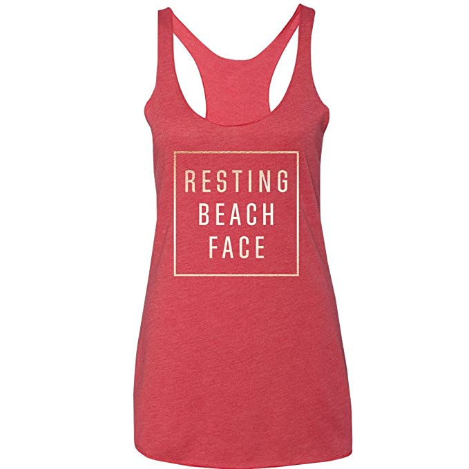acca2f8b20 Resting Beach Face Tank Top by MoodShop - Fashionable Beach Tank Tops Comfy  Stylish Triblend Racerback