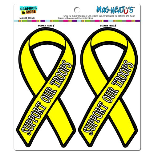 Graphics and More Support Our Troops Yellow Awareness Ribbon Automotive Car Refrigerator Locker Vinyl Magnet Set