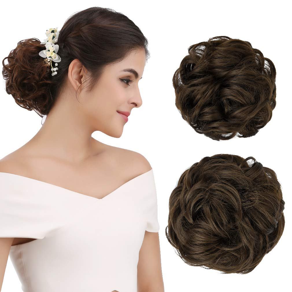 REECHO Women's Thick 2PCS Curly Wavy Updo Hair Bun Extensions Messy Hairpieces ywmyself