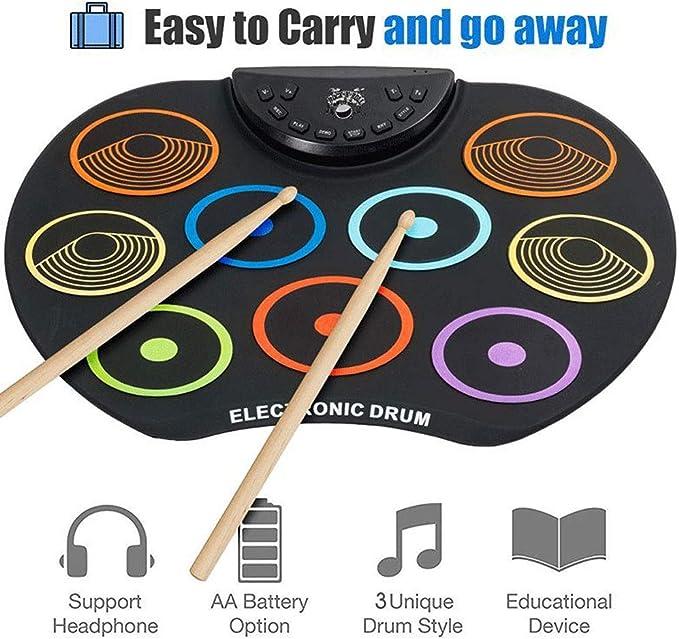 Juego de baterías portátiles compactas de tamaño compacto Juego de batería electrónica 9 Almohadillas de batería de silicona USB / Batería alimentado con baquetas Pedales de pie para niños Niños: Amazon.es: Hogar