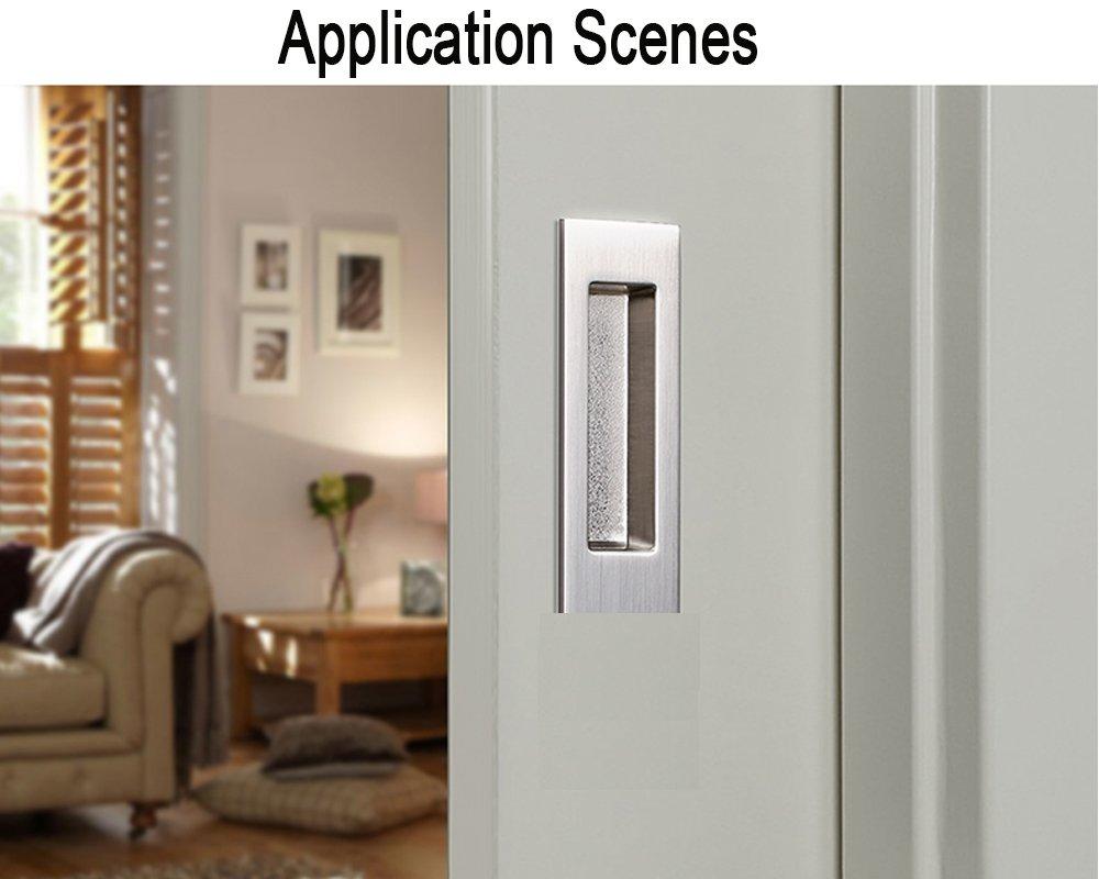 Funsmore FlushPull Handle 6 inch Rectangular Flush Recessed Sliding Door Pull Handles for Barn Door Hardware 2 Pack Silver by Funsmore (Image #5)
