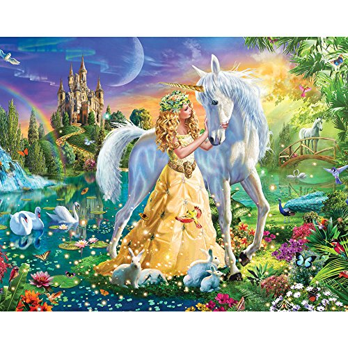 Bits and Pieces - 100 Piece Jigsaw Puzzle - Princess and Unicorn at Twilight - 100 pc Fantasy Jigsaw by Artist Adrian Chesterman