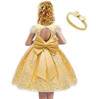 Gaga city Vestido Infantil de Princesa con Lazo Bordado de Encaje, Bebé Infantil Niñas Vestido de Bautizo de Cumpleaños…