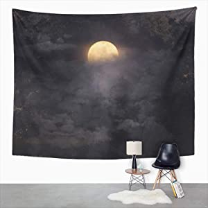 Houlor Tapestry Wall Hanging Art 60x80 Inches Blue Spooky Abstract Night Sky Full Moon for Halloween Fog Print Home Polyester Decoration Apartment Bedroom Living Room Dorm Decor