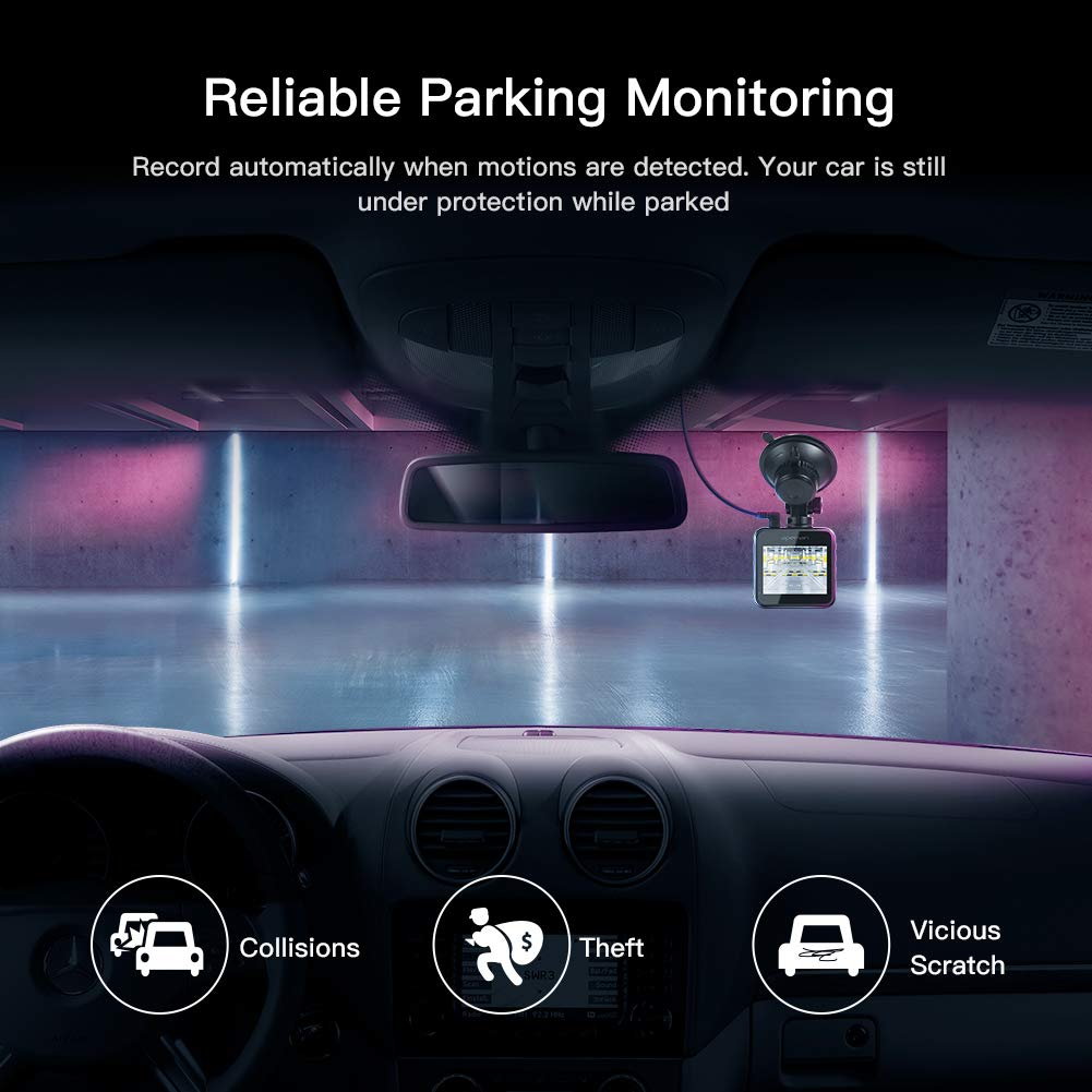 APEMAN Dual Dash Cam for Cars Front and Rear with Night Vision 1080P FHD Mini in Car Camera 170/° Wide Angle Driving Recorder with G-Sensor WDR Loop Recording Parking Monitor