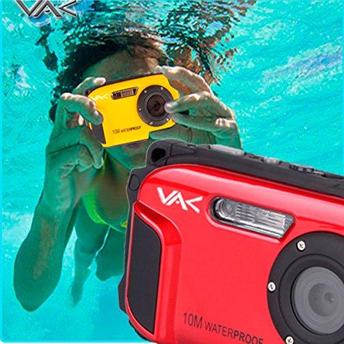 Cámara digital VAK DC-168 sumergible 10m face detection 16MP Smile shutter Rojo