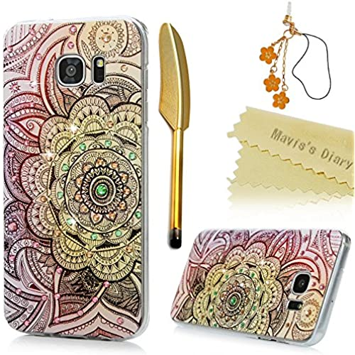 S7 Edge Case,Samsung Galaxy S7 Edge Case - Mavis's Diary 3D Handmade Bling Crytal Colorful Shiny Diamond Retro Totem Pattern Hard Clear PC Cover with Sales