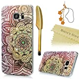 S7 Edge Case,Samsung Galaxy S7 Edge Case - Mavis's Diary 3D Handmade Bling Crytal Colorful Shiny Diamond Retro Totem Pattern Hard Clear PC Cover with Bumper & Flower Dust Plug & Stylus Pen