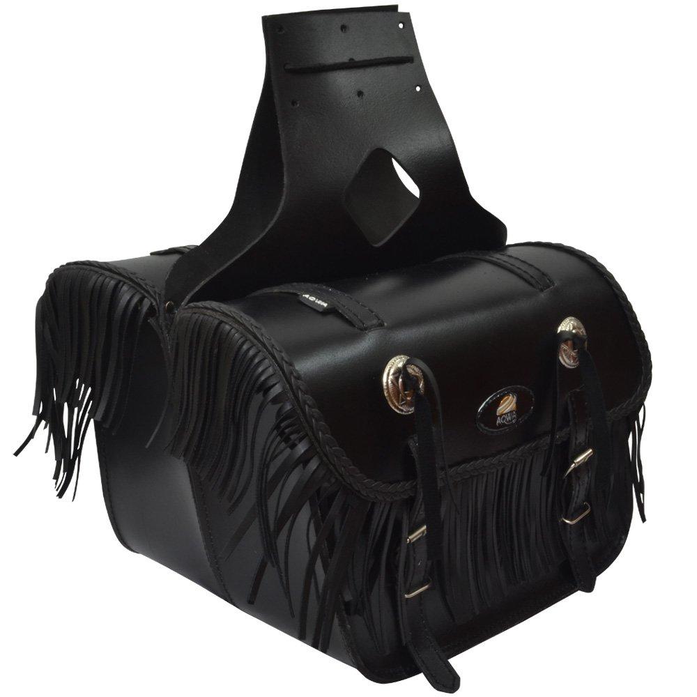 AQWA MOTORCYCLE MOTORBIKE UNIVERSAL SADDLE BAG Pair Leather Panniers Bags Black