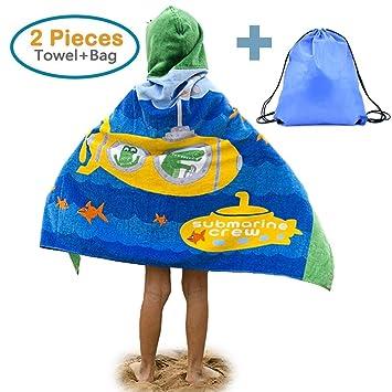 TOVTO Juego de Toallas de Playa y Bolsa para niños con Capucha de algodón 100%, diseño de Dinosaurio de 4 a 14 años: Amazon.es: Hogar