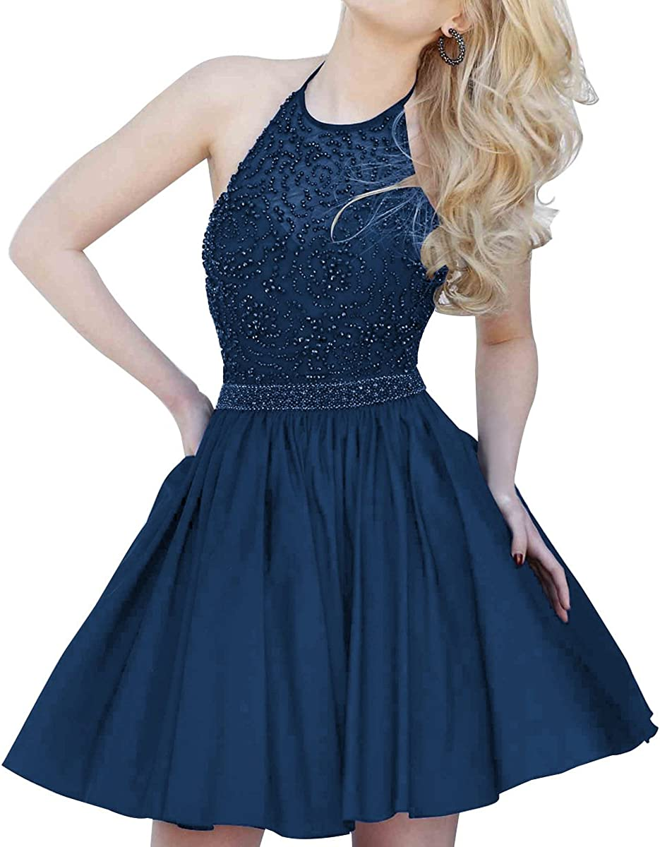 Homecoming Gown Halter Beaded A-line Formal Short Beaded Prom Evening Dresses