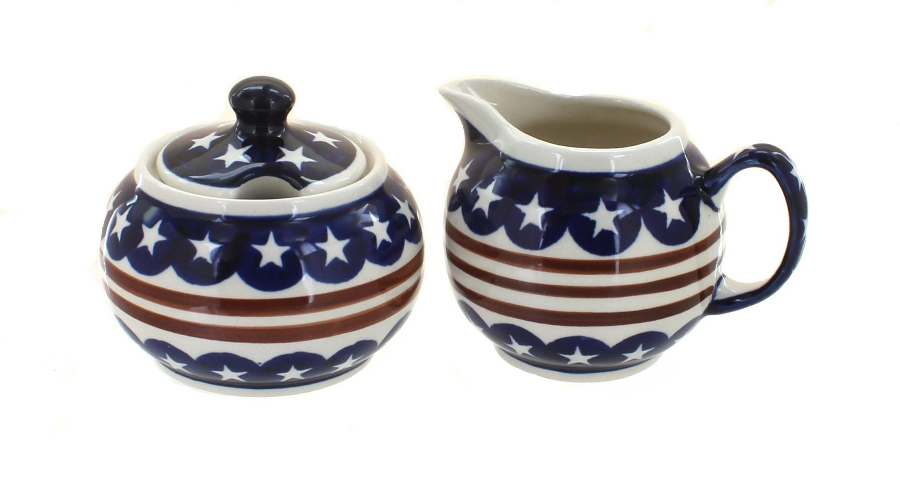 Blue Rose Polish Pottery Stars & Stripes Cream & Sugar by Blue Rose Pottery