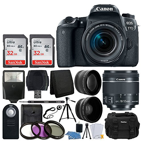 Canon EOS 77D DSLR Camera + EF-S 18-55mm f/4-5.6 is STM Lens + 58mm Wide Angle Lens + 2X Telephoto Lens + Slave Flash + 64GB SDHC Memory Card + UV Filter Kit + Quality Tripod -Full Accessory Bundle For Sale