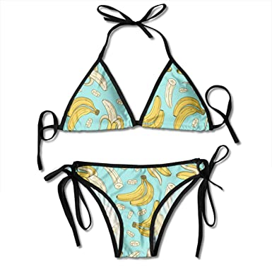 b552660d7392e Amazon.com  Audarey Rus Women s Tie Side Bottom Padded Yellow Banana Pattern  Printing Triangle Bikini Set Brazilian Bathing Suit  Clothing