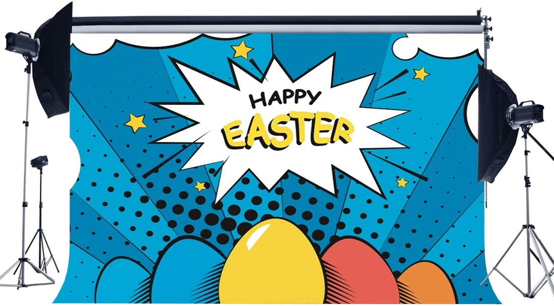 Easter 10x12 FT Photography Backdrop Happy Chicks Emerging Out of a Cracked Egg Funny Cartoon Style Animals Background for Baby Birthday Party Wedding Vinyl Studio Props Photography