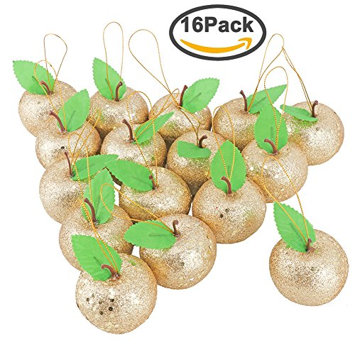 Biowow 16 Pack Glitter Gold Apples Christmas Tree Ornaments Christmas Decoration Crafts Home - Golden Apple Accent