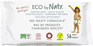 Eco by Naty Lightly Scented Baby Wipes, 672 Count (12 Packs of 56), Plant Based Compostable Wipes, 0% Plastic. No Nasty Chemicals