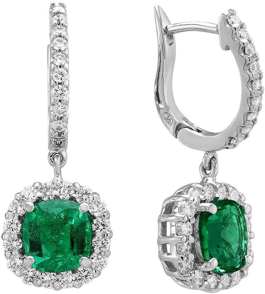 Pendientes de oro blanco de 14 quilates con diamante esmeralda de 3,64 quilates, con sello distintivo, para mujer