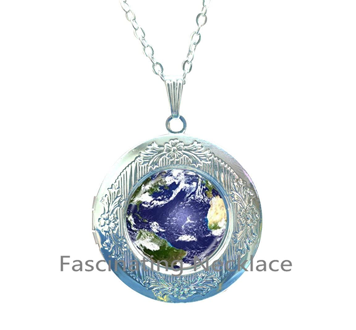 Mother Earth Photo Locket Necklace Globe Locket Pendant Planet Jewelry Space Locket Necklace Glass Cabochon Locket Pendant Handmade Jewellery,AQ161