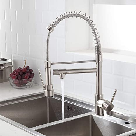 Morotel Contemporary Kitchen Sink Faucet Single Handle Stainless Steel Kitchen Faucets With Pull Down Sprayer Brushed Nickel