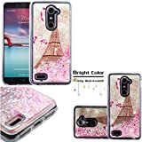 ZTE ZMax Pro Case, Willmart (Tm) Dynamic Water Glitter Stars Slim Fit Thin Silicone TPU Liquit Soft Cover (Eiffel Tower / Pink Hearts)