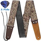Guitar Strap, Stamped Leather Guitar Strap PU Leather Western Vintage 60's Retro Guitar Strap with Genuine Leather Ends for Electric Bass Guitar,Wide Adjustment Range, with Tie,Include 2 Picks,Bronze