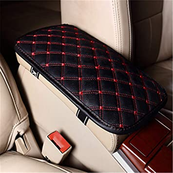 Mioloe Universal Car Armrest Cover,Auto Center Console Pad,PU Leather Auto Arm Rest Cushion Pads Center Console Armrest Protector Fit for Most Vehicle,Truck Car Accessories