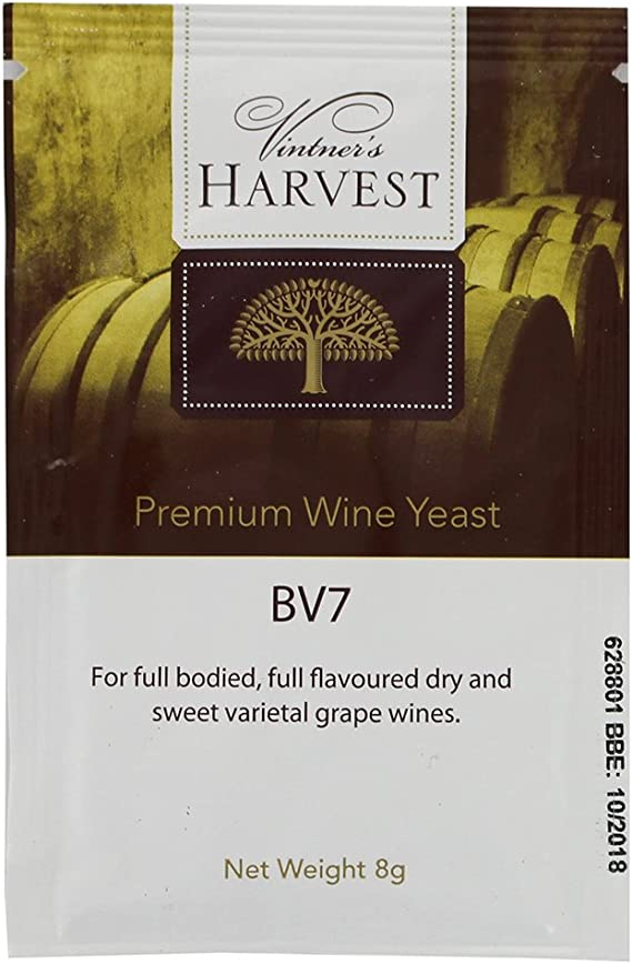 Vintner's Harvest Wine Yeast - BV7 8g treats 23L Dry and Sweet White Wines