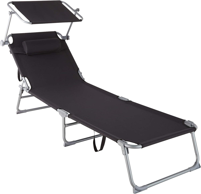 TecTake 800772 Tumbona de Playa con Parasol, Respaldo Ajustable 4 Posiciones, Reposacabezas Extraíble, Exterior Piscina Terraza Jardín (Negro | No. 403415)