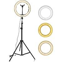 """Hanylish Aro de Luz LED 10"""" Pulgadas (26cm) con Trípode 210 cm, 128 Bombillas LED, Anillo para Selfies y Video, 3 Modos…"""