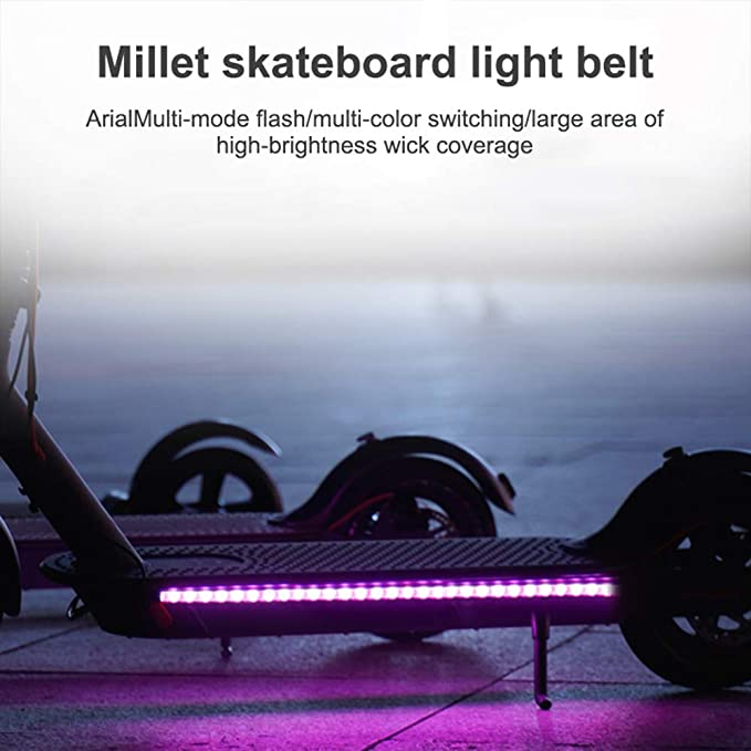 Phonleya Scooter eléctrico, Tira de Luces LED, Ciclismo Nocturno, Impermeable, Plegable, de Seguridad, monopatín…