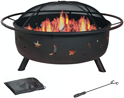 30 Inch Patio Fire Pit – Cosmic for Outdoor with Charchol Grill and Spark Screen – By HomeRoots