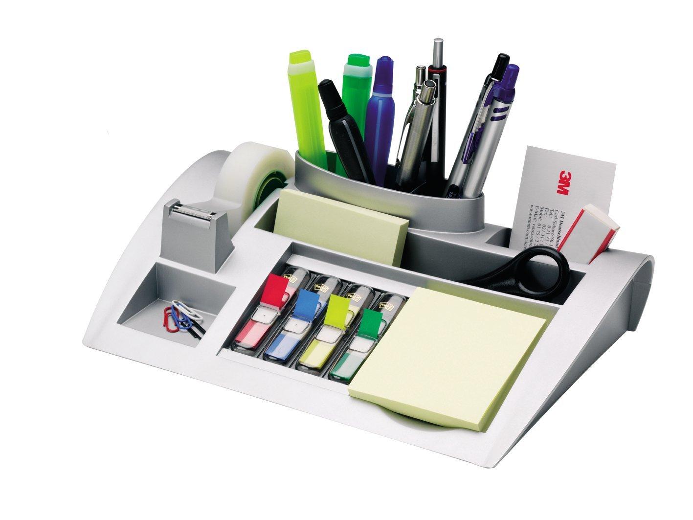3M Post-it C50 - Organizador de escritorio – Incluye 1 bloc de notas, 4 x 35 Marcadores Index y 1 cinta adhesiva Scotch Magic – Dispensador de notas – Portalápices – color plateado product image