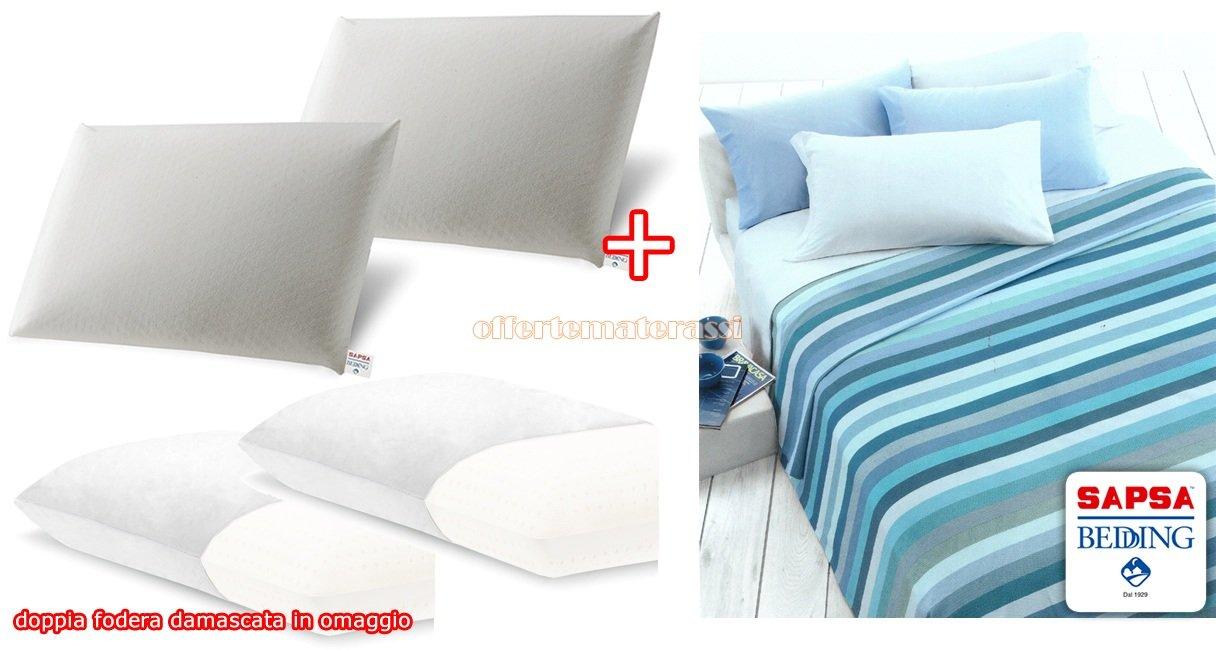 sapsa Bedding Classic Jabón látex 100% cojín/almohada alta calidad EX Tapicería + Almohada/y Damasco/y visible (2 Jabón H.13 + 2 fundas + Juego Sábanas ...
