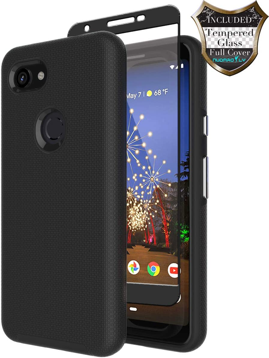 Google Pixel 3a Case with [Tempered Glass Screen Protector] Nuomaofly Anti-Slip Hard Silicone Textured Shell Back Cover with Armor Durable Protection for Google Pixel 3a (Black)