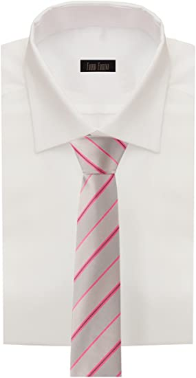 Corbata de Fabio Farini rayado en gris-rosa fucsia-negro: Amazon ...