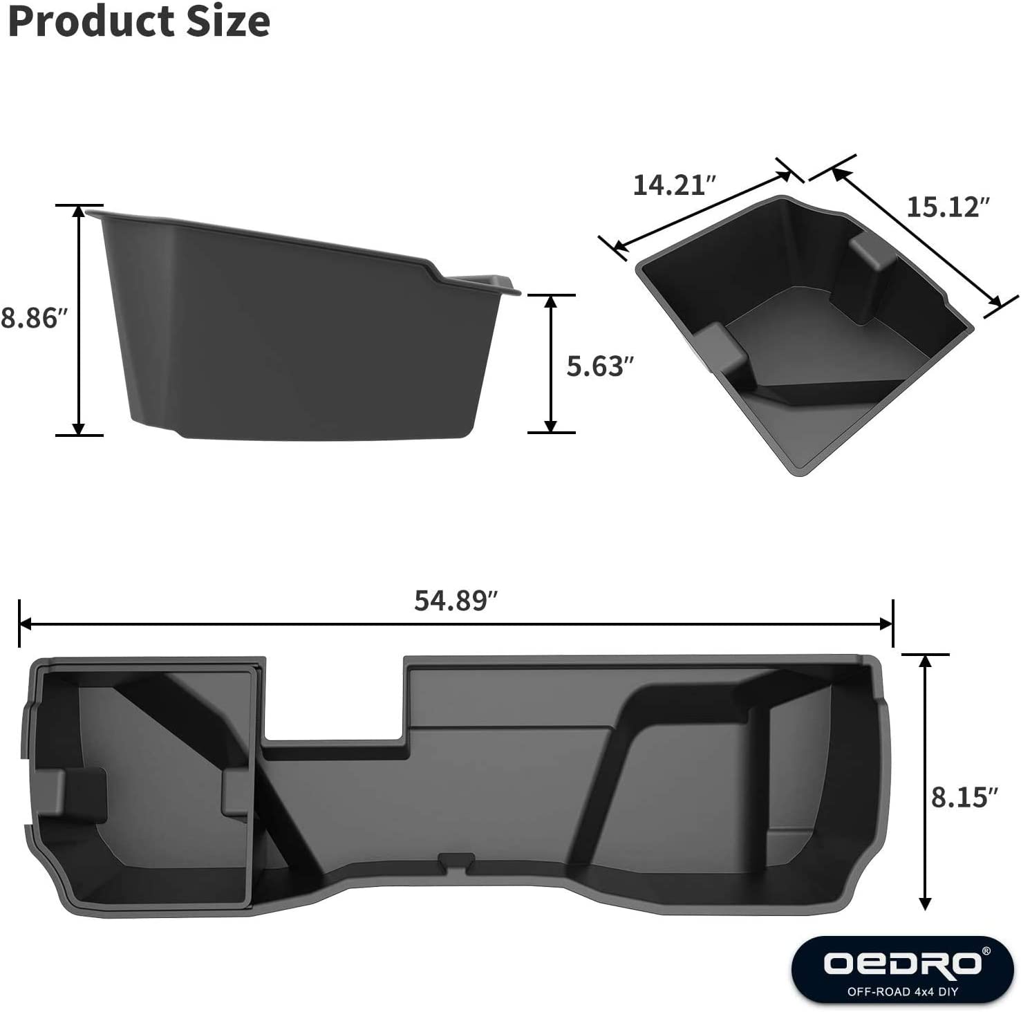 2019 LD ONLY oEdRo Upgraded Under Seat Storage Box Compatible for 2014-2018 Chevrolet Silverado//GMC Sierra 1500 Double Cab 2015-2018 Silverado//Sierra 2500 3500 HD /& Car Trunk Organizer with Removab