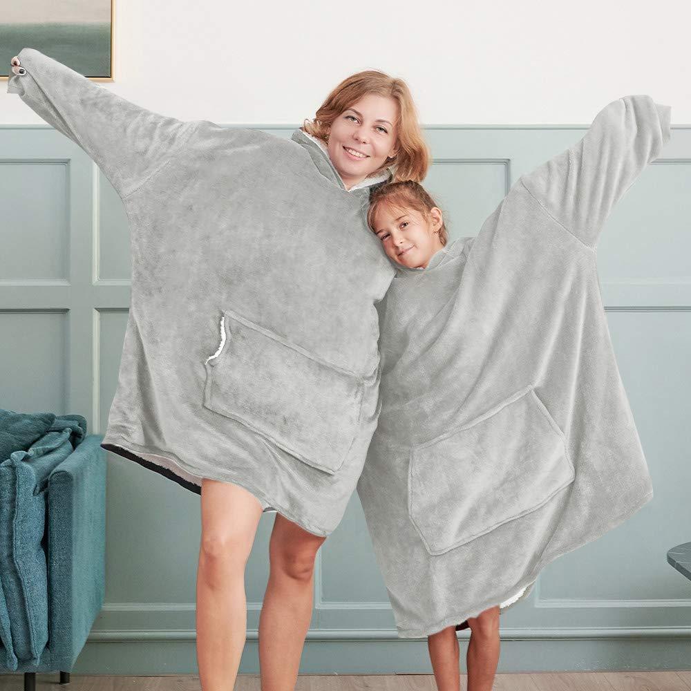 Bonzy Home Blanket Sweatshirt with Sherpa Lining,Lightweight Wearable Throw,Oversized Fleece Pullover with Pocket Hoodie Blanket for Teens, Men, Women (Light Grey) by Bonzy Home
