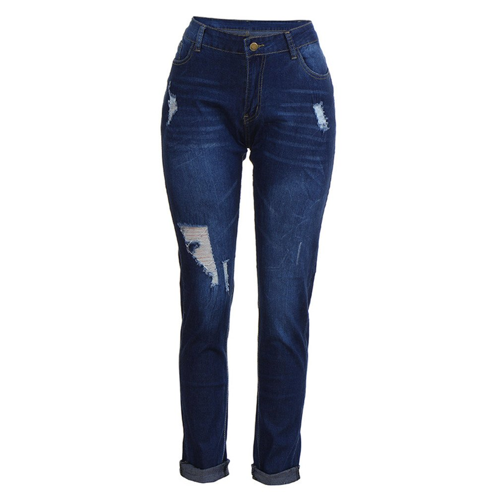 Geetobby Women Pencil Jeans Casual Skinny Plus Size Pants Stretch Hole Trousers