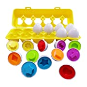 J-hong Matching Eggs - Toddler Toys - Educational Color & Recognition Skills Study Toys, for Learn Color & Shape Match Egg Set, for Age 2 Years Old and 2 Years Up Kid Baby Toddler Boy Girl. (12 Eggs)