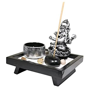 6goodeals Tabletop Incense Burner Gifts & Decor Zen Garden Kit with Statue Candle Holder (Ganesha Small)