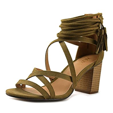XOXO Womens Elle Fabric Open Toe Casual Strappy Sandals, Olive, Size 6.0